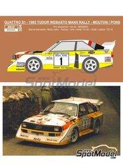 Reji Model: Decoración escala 1/24 - Audi Quattro Sport S1 Panasonic Nº 1 - Michele Mouton  (FR) + Fabrizia Pons (IT) - Tudor Webasto Manx International Rally 1985 - calcas de agua y manual de instrucciones - para las referencias de Beemax Model Kits B24017, 4905083103982 y 103982