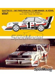 Reji Model: Marking / livery 1/24 scale - Audi Quattro Sport S1 #1 - Walter Röhrl (DE) - Pikes Peak Climb Hill Race 1987 - resin parts, water slide decals and assembly instructions - for Beemax Model Kits references B24017, 4905083103982 and 103982