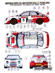 Reji Model: Decals 1/43 scale - Subaru Impreza WRX Matador rally team #5 2003