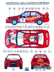 Reji Model: Decals 1/43 scale - Mitsubishi Lancer Evo V Winfield #1 - Tommi Mäkinen (FI) + Risto Mannisenmäki (FI) - Australian Rally 1998