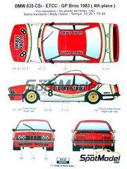 Reji Model: Marking / livery 1/43 scale - BMW 635 Csi Lucky Strike #8 - Michel Delcourt (BE) + Dany Swyssen (BE) + Jean-Marie Baert (BE) - Brno Formula 1 Grand Prix 1983