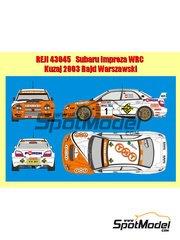 Reji Model: Decals 1/43 scale - Subaru Impreza WRC #1 - Leszek Kuzaj (PL) + Lukas - Rally Rajd Warszawski 2003