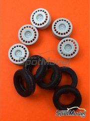 Reji Model: Rims and tyres set 1/24 scale - OZ Racing 4 nuts with snow tyres - resin parts and rubber parts - for Beemax Model Kits references B24001, Aoshima 081198, B24002, Aoshima 084229, B24006 and Aoshima 097885, or Hasegawa references 20291 and 20358, or Tamiya references TAM24119, 24119, TAM24125 and 24125 - 4 units