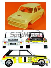 Renaissance Models: Model car kit 1/24 scale - Renault 5 Turbo Group 4 #6 - Jean Ragnotti (FR) + Jean-Marc Andrié (FR) - Montecarlo Rally 1981 - resin multimaterial kit