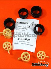 Renaissance Models: Rims and tyres set 1/24 scale - BBS 16 inches 1976 - resin parts and rubber parts - for Tamiya references TAM24004, 24004, TAM24012, 24012, TAM24328, 24328, TAM24334 and 24334 - 4 units