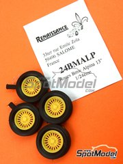 Renaissance Models: Rims and tyres set 1/24 scale - Alpina 13 inches 4 nuts - resin parts and rubber parts - for Hasegawa references 20332, 21123 and 21124 - 4 units