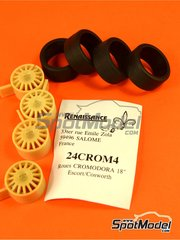 Renaissance Models: Rims and tyres set 1/24 scale - Cromodora 18 inches - resin parts and rubber parts - for Domino  reference DMN24144, or Tamiya references TAM24153, 24153, TAM24171, 24171 and TAM24xxx - 4 units