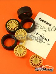 Renaissance Models: Rims and tyres set 1/24 scale - Cromodora 18 inches rims with 5 nuts and slick tyres - resin parts and rubber parts - for rally cars like Subaru