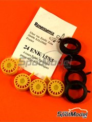 Renaissance Models: Rims and tyres set 1/24 scale - Enkei 15 inches 5 nuts asymmetric snow tyres - resin parts and rubber parts - 4 units