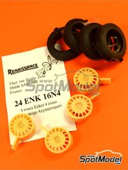 Renaissance Models: Rims and tyres set 1/24 scale - Enkei 16 inches 4 nuts rims and asymmetric tyres set - resin parts and rubber parts - 4 units image
