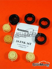 Renaissance Models: Rims and tyres set 1/24 scale - Enkei 16 inches - resin parts and rubber parts - 4 units