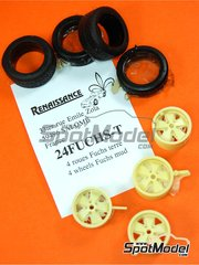 Renaissance Models: Rims and tyres set 1/24 scale - Fuchs for Porsche 911 with mud tyres  - resin parts and rubber parts - 4 units