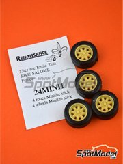 Renaissance Models: Rims and tyres set 1/24 scale - Minilite 13 inches - resin parts and rubber parts - for Belkits references BEL006 and BEL007