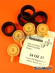 Renaissance Models: Rims and tyres set 1/24 scale - OZ 17 inches - resin parts and rubber parts - 4 units