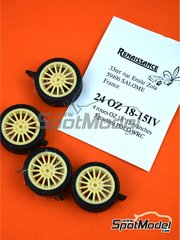 Renaissance Models: Rims and tyres set 1/24 scale - OZ 18 inches 15 arms 5 nuts - resin parts and rubber parts - for Belkits kits BEL-005, BEL010 and BEL011