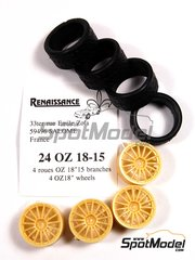 Renaissance Models: Rims and tyres set 1/24 scale - OZ 18 inches 15 spokes with rally tyres  - resins and rubber tyres - 4 units