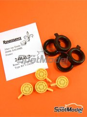 Renaissance Models: Rims and tyres set 1/24 scale - Renault 4L - resin - for Heller reference 80759