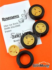 Renaissance Models: Rims and tyres set 1/24 scale - Alpine French - resin parts and rubber parts - for ESCI reference 3016, or Italeri reference 3652 - 4 units