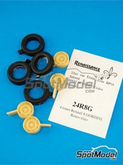 Renaissance Models: Rims and tyres set 1/24 scale - Renault R8 Gordini - resin parts and rubber parts - for Heller references 80700, L760 and HE80700