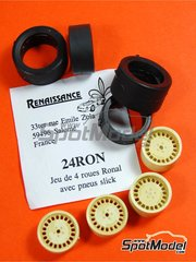Renaissance Models: Rims and tyres set 1/24 scale - Ronal with slicks - resin parts and rubber parts - for Tamiya references TAM24328 and TAM24334 - 4 units