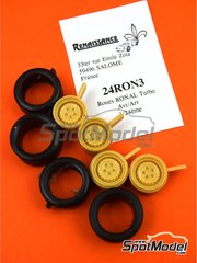 Renaissance Models: Rims and tyres set 1/24 scale - Ronal Turbo with slicks - resin parts and rubber parts - 4 units