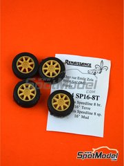 Renaissance Models: Rims and tyres set 1/24 scale - Speedline 16 inches 8 spokes rally tyres  - resin parts and rubber parts - 4 units