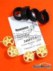 Renaissance Models: Rims and tyres set 1/24 scale - Speedline 17 inches 5 spokes  - resin parts and rubber parts - 4 units