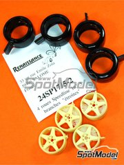 Renaissance Models: Rims and tyres set 1/24 scale - Speedline 16 inches 5 spokes  - resin parts and rubber parts - 4 units