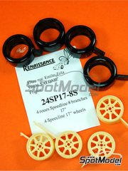 Renaissance Models: Rims and tyres set 1/24 scale - Speedline 17 inches 8 spokes - resin parts and rubber parts - 4 units