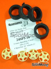 Renaissance Models: Rims and tyres set 1/24 scale - Speedline 5 spokes 16 inches - resin parts and rubber parts - 4 units