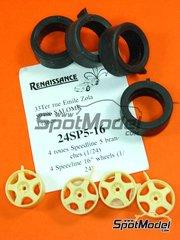 Renaissance Models: Set de llantas y neumáticos escala 1/24 - Speedline 16 pulgadas y 5 radios - piezas de resina y piezas de goma - 4 unidades