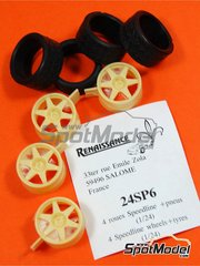 Renaissance Models: Rims and tyres set 1/24 scale - Speedline 18 inches 6 spokes - resin parts and rubber parts - 4 units