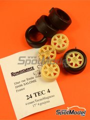 Renaissance Models: Rims and tyres set 1/24 scale - TecnoMagnesio 17 inches 4 nut rims and slick tyres set - resin parts and rubber parts - for nineties rally cars image