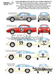 Renaissance Models: Model car kit 1/43 scale - Alfa Romeo Giulietta SZ Coda Tronca #4, 39, 40, 61, 62 - 12 Hours Sebring, 24 Hours Le Mans, Targa Florio 1962 - metal parts, resin parts, rubber parts, turned metal parts, vacuum formed parts, water slide decals, white metal parts, other materials, assembly instructions and painting instructions