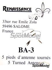 Renaissance Models: Detail 1/43 scale - Antenna basis - turned metal pieces - 5 units