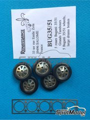 Renaissance Models: Rims and tyres set 1/43 scale - Bugatti 35 rims and tyres with big brake - photo-etched parts and rubber parts - 5 units