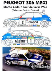 Renaissance Models: Model car kit 1/24 scale - Peugeot 306 Maxi Evo 1 Clarion #1, 2 - Francois Delecour (FR) + Hervé Sauvage (FR), Gilles Panizzi (FR) + Hervé Panizzi (FR), Francois Chatriot (FR) + Bruno Brissart (FR) - Montecarlo Rally, Tour de Corse 1996 - resin multimaterial kit