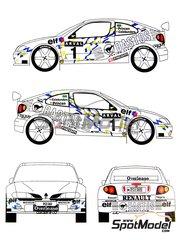 Renaissance Models: Maqueta de coche escala 1/24 - Renault Megane Maxi Kit Car Bastos Nº 1 - Kris Princen (BE) + Dany Colebunders (BE) - Rally de Luxemburgo 1999 - maqueta de resina