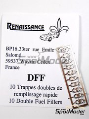 Renaissance Models: Petrol Caps 1/43 scale - Double fuel intake - photo-etched parts - 10 units