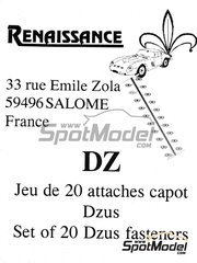 Renaissance Models: Detail 1/43 scale - Dzus fasteners - photo-etched parts - 20 units