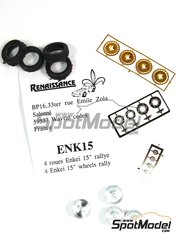 Renaissance Models: Rims and tyres set 1/43 scale - Enkei 15 inches Rally rims - photo-etched parts, rubber parts and turned metal parts - 4 units