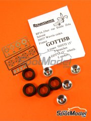 Renaissance Models: Rims and tyres set 1/43 scale - Gotti 15 inches 5 spokes - rubber, metal, photo-etched parts - 4 units