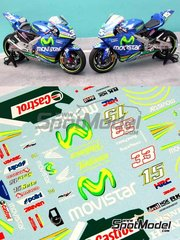 Renaissance Models: Marking / livery 1/12 scale - Honda RC211V  Telefonica Movistar Team Gresini #15, 33 - Marco Melandri (IT), Manuel 'Sete' Gibernau (ES) - Motorcycle World Championship 2005 - water slide decals, assembly instructions and painting instructions - for Tamiya reference TAM14097