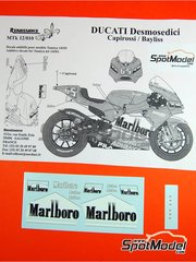 Renaissance Models: Logotypes 1/12 scale - Ducati Desmosedici GP4 Marlboro - Loris Capirossi (IT), Troy Bayliss (AU) - Motorcycle World Championship 2004 - water slide decals and assembly instructions - for Tamiya references TAM14101 and 14101