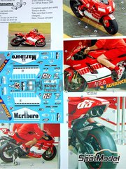 Renaissance Models: Transkit 1/12 scale - Ducati Desmosedici GP5 Marlboro Alice #7, 65 - French Grand Prix 2005 - resin parts, water slide decals and assembly instructions - for Tamiya kit TAM14101