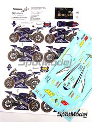 Renaissance Models: Marking / livery 1/12 scale - Yamaha YZR-M1 Gauloises #46, 5 - Valentino Rossi (IT), Colin Edwards (US) - Motorcycle World Championship 2005 - water slide decals and assembly instructions - for Tamiya references TAM14104, 14104, TAM14115 and 14115