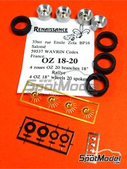 Renaissance Models: Rims and tyres set 1/43 scale - OZ 18 inches 20 spokes rims - photo-etched parts, rubber parts and turned metal parts - 4 units