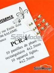 Renaissance Models: Luces - Faros rectangulares de 4x2mm - otros materiales - 10 unidades