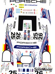 Renaissance Models: Marking 1/24 scale - Porsche 911 GT1 Evo 97 Porsche AG Team #25, 26 - Thierry Boutsen (BE) + Hans-Joachim Stuck (DE) + Robert 'Bob' Wollek (FR), Yannick Dalmas (FR) + Emmanuel Collard (FR) + Ralf Kelleners (DE) - 24 Hours Le Mans 1997 - water slide decals and assembly instructions - for Tamiya kit TAM24186