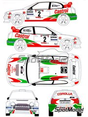 Renaissance Models: Decals 1/24 scale - Toyota Corolla WRC Castrol #2 - Henrick Lundgaard (DK) + Jens-Christian Anker (DK) - Ypres Rally 1999 - for Tamiya reference TAM24209